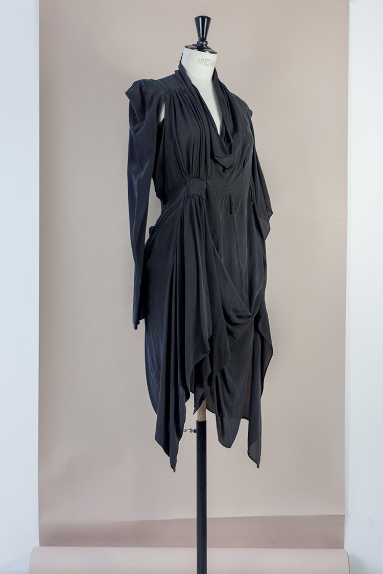 DRESS Black Phase Collection SS17 Black Wash Archive Dress ASYMMETRIC TWISTED HALF COCKTAIL DRESS Dress-Ltd