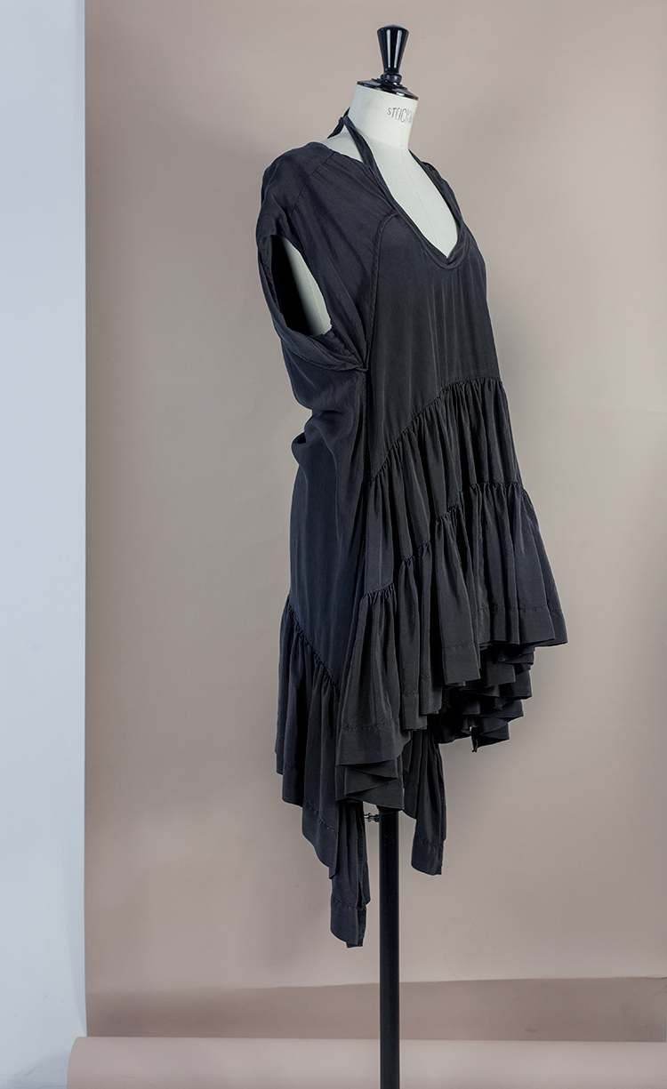 DRESS Black Phase Collection SS16 Black Wash Archive DOUBLE FRONT FRILL DRESS WITH HALTER Dress-Ltd