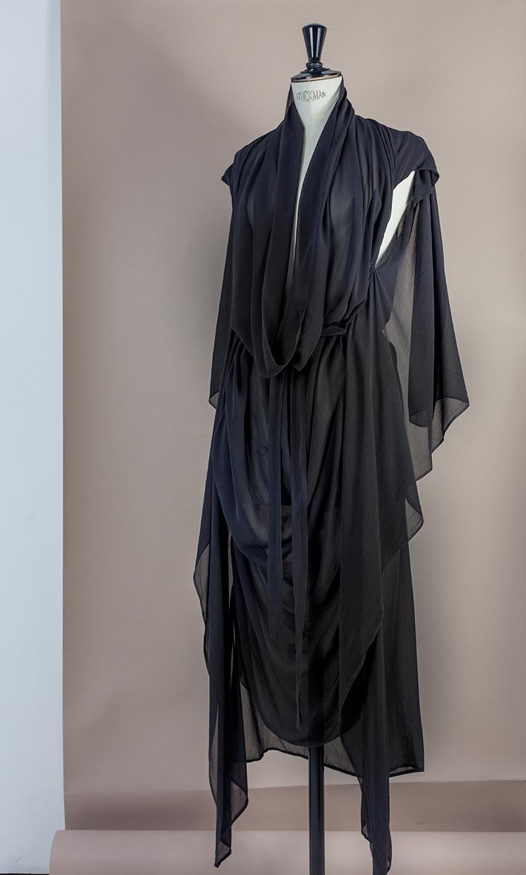 DRESS Black Phase Collection SS16 Black Wash Archive Silk Georgette COWL NECK DRAPE DRESS W POCKETS Dress-Ltd