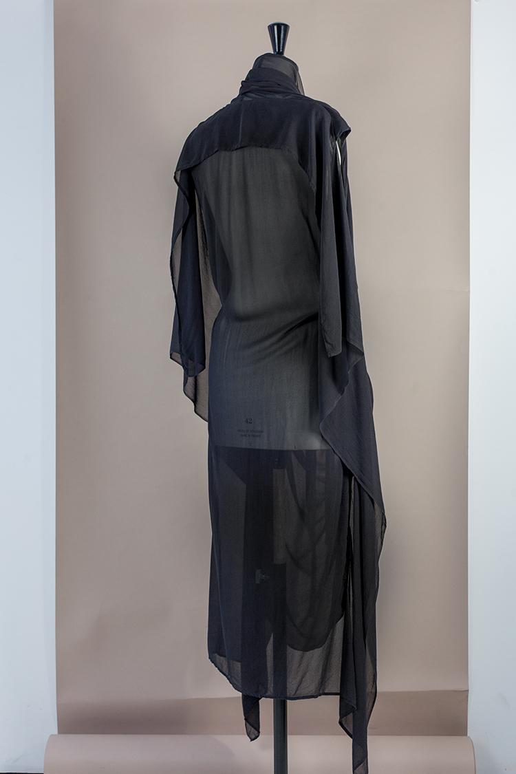DRESS Black Phase Collection SS16 Black Wash Archive SILK GEORGETTE COWL NECK DRAPE DRESS W POCKETSDress-Ltd