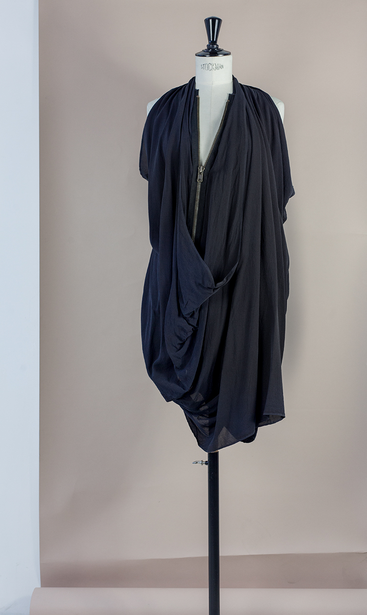 DRESS Black Phase Collection SS16 Black Wash Archive DEEP COWL ZIP DRESS W RACER BACK Dress-Ltd