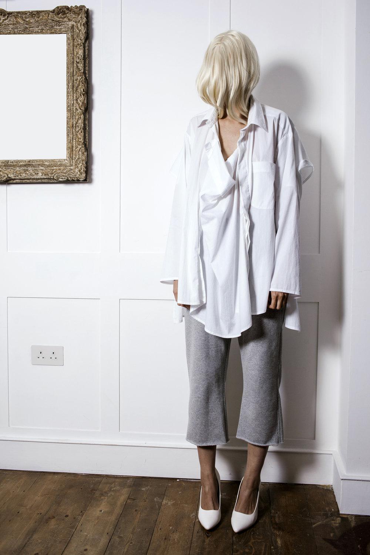 DRESS SUPERBASICS White Adaptable Frame Shirt in 3 parts in White Cotton #dressltd