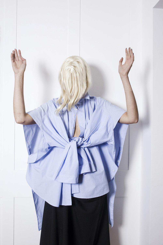 DRESS SUPERBASICS Flat Shirt Reduction in Pale Blue worn with Broken Little Black Skirt #dressltd