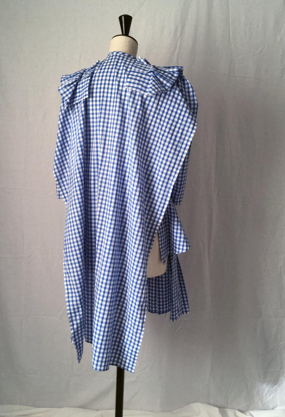 DRESS LTD Back view of adaptable flat pack HALF APRON DOROTHY deconstructed prairie dress #dressltd