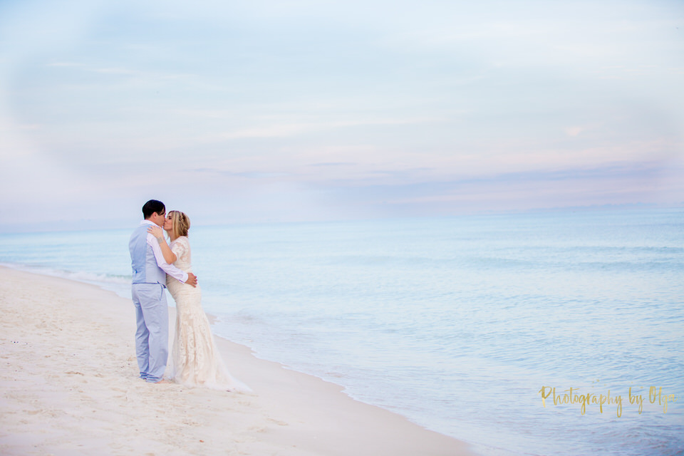 Sunset romantic beach wedding