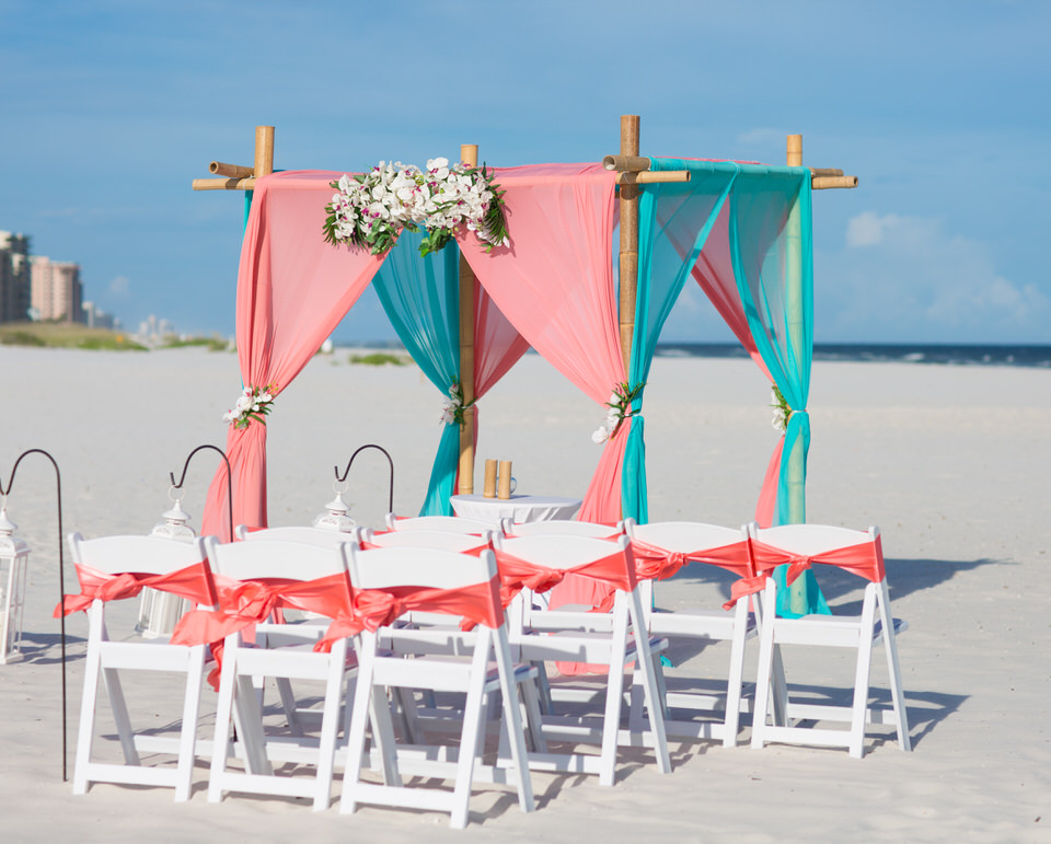 coral wedding setup