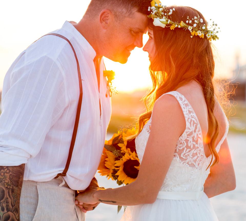 sunset beach wedding