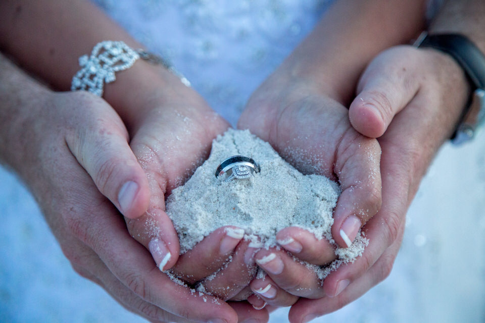 wedding rings sand