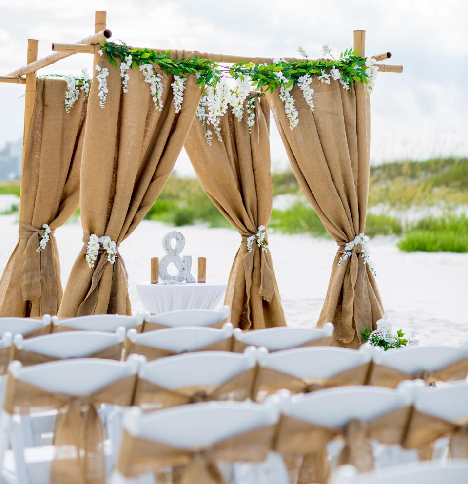 burlap wedding arch