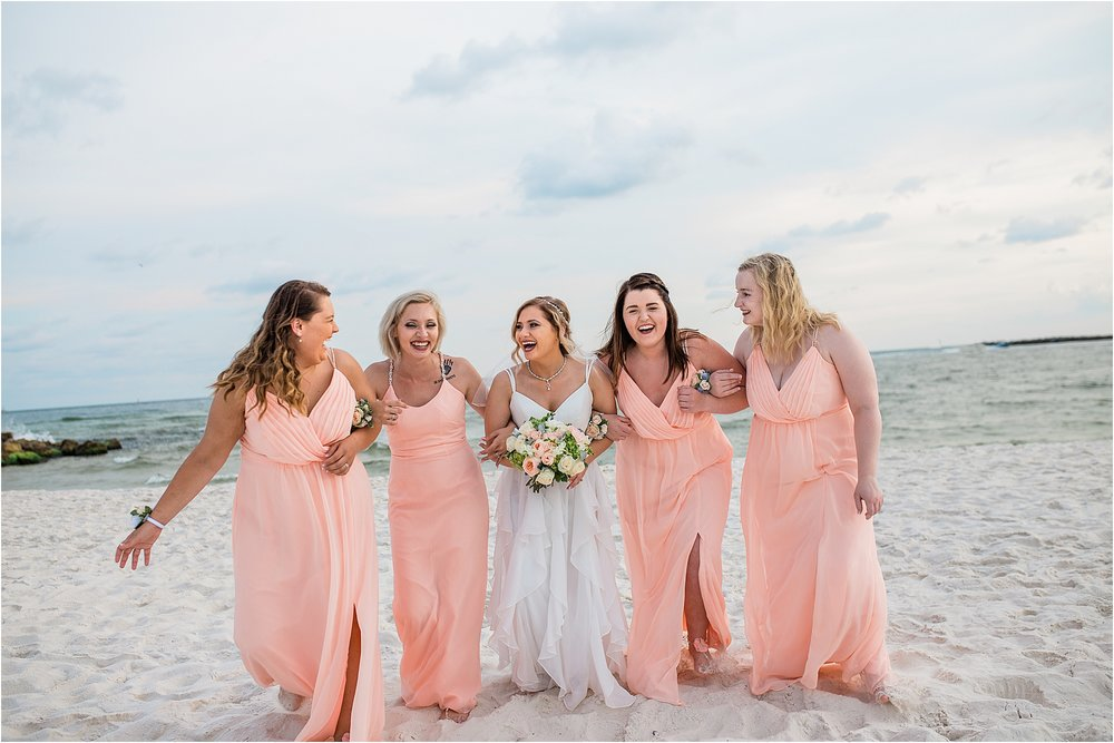 Beautiful Bride Surrounded By Her Bridesmaids