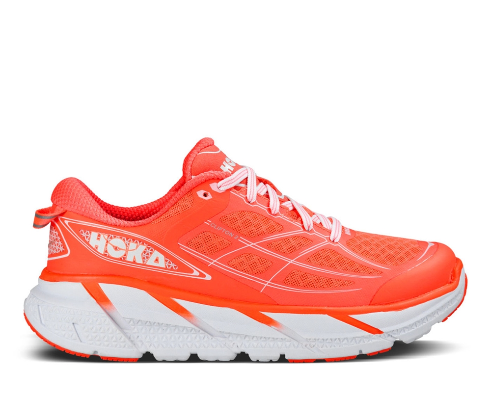 Hoka One One Clifton 2 Women's Shoe in Coral/White