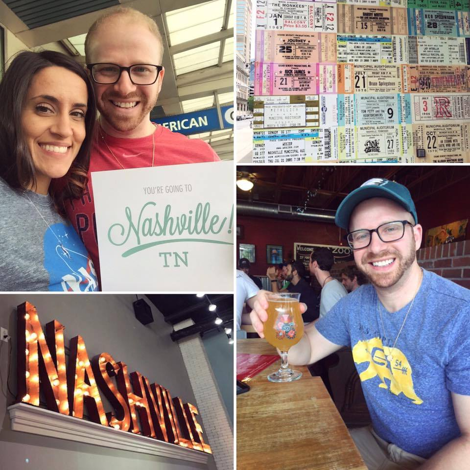 Cheers to another happy couple! Randy + Pam added some spice to their anniversary with the element of surprise. We sent them to Nashville where they enjoyed a lot of delicious Southern food, beer, and live music!