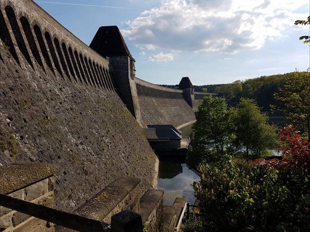 The Mohne Dam, the breach scar is just visible in the centre span.