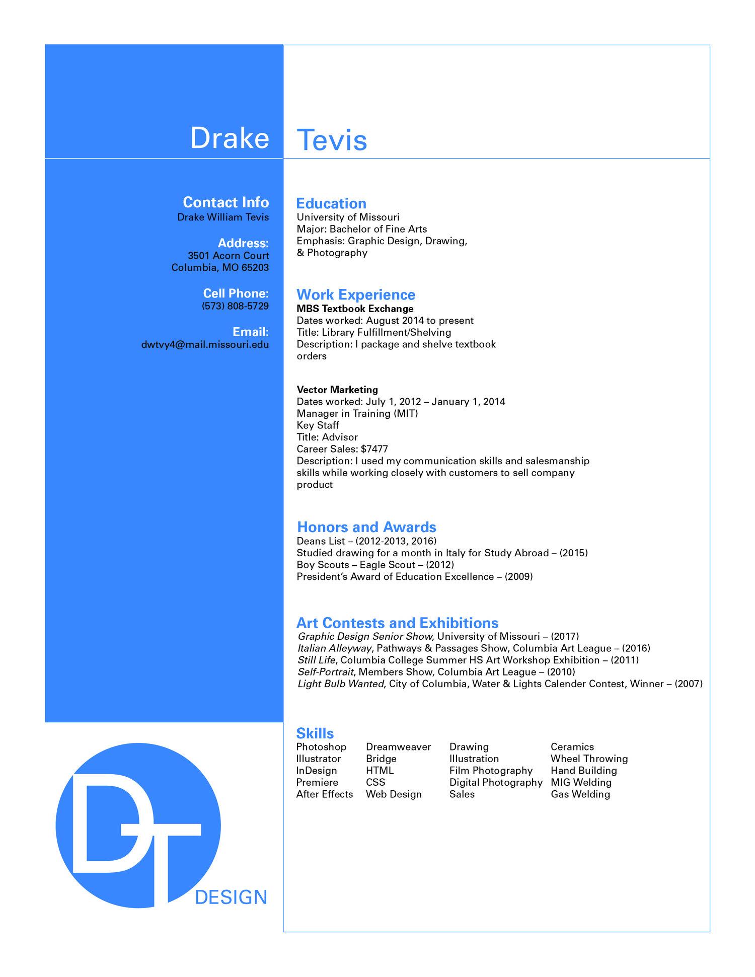 Resume — Drake Tevis