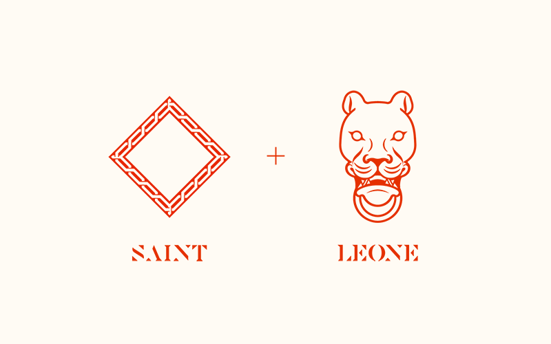 The Saint and the Lion. - Though the logo draws inspiration from Versace, it is not the sole source. A lioness sculpture was depicted to honor the original feminine connotation of Leoa which Leone draws its name from, as well as the founders affinity with the strength of womanhood. The background pattern mimicked a medieval halo often used in paintings to signify sainthood and divinity to truly portray the lioness as a saint.