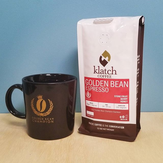 In celebration of our 3rd Golden Bean award, we are now selling our exclusive Golden Bean Espresso, available online and in stores! Once you sip this sophisticated and decadent cup of coffee, you will understand why we took the 3-peat! #goldenbeannorthamerica #pentaireverpure #gbna2017 #getroasted #coffeegram #coffeelife #KlatchOn