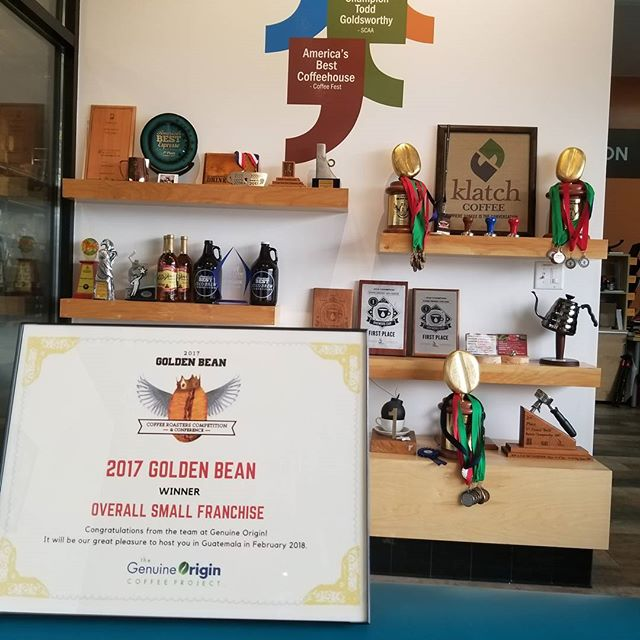 Our certificate came in the mail today! We're excited to be serving our award-winning Golden Bean Espresso in stores! Come down to your local Klatch Coffee and find out why our Golden Bean streak continues! Or order a bag of this amazing espresso from our website [link in bio]  #goldenbeannorthamerica #PentairEverpure #GBNA2017 #getroasted #CoffeeGram #coffeelife #coffeegram #KlatchOn