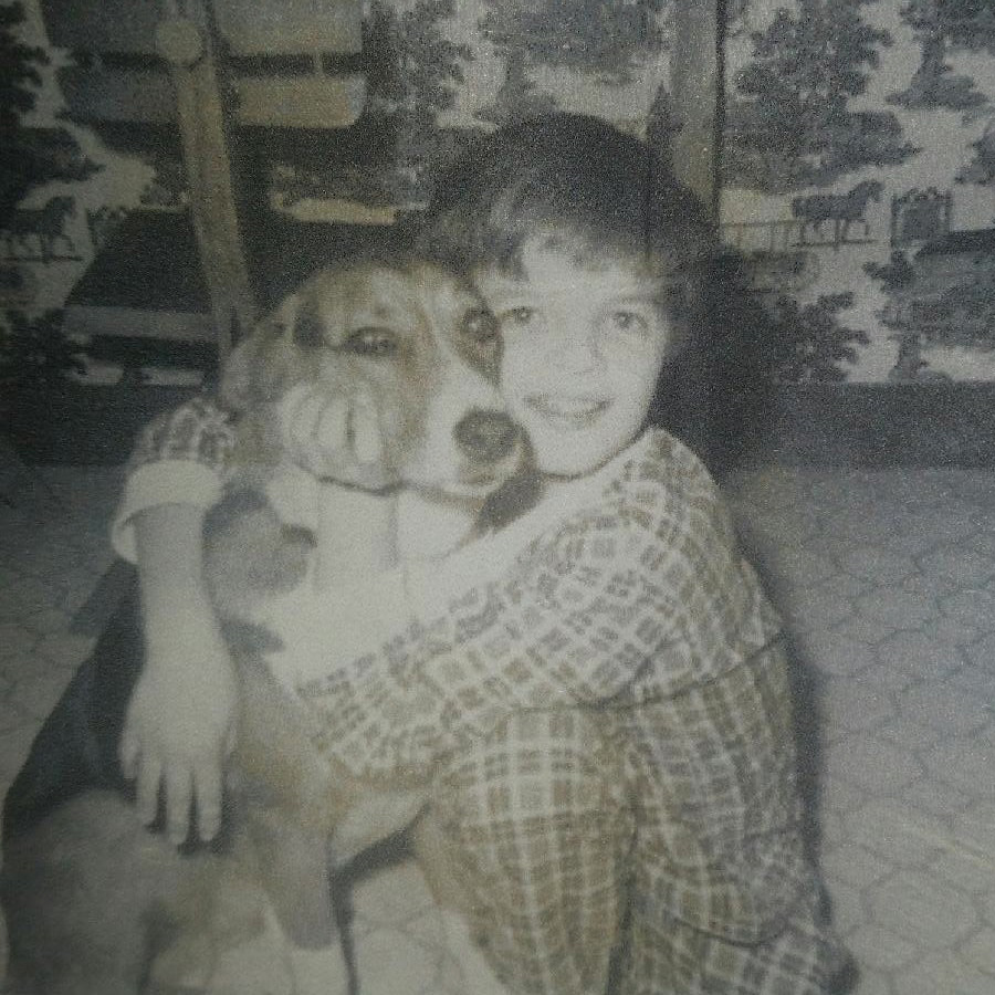 my first dog, patches, and me
