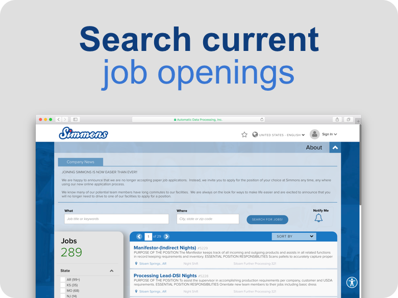 Simmons Foods Search Job Openings Links to Job Search Website