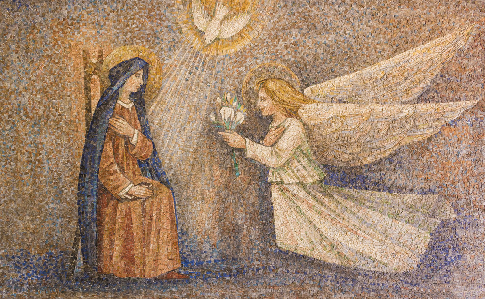 Annunciation of the Virgin [mosaic] – Sanctuary of Caravaggio, Italy [photo by Macthia]