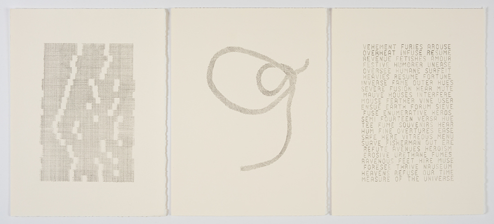 Measure of the Universe   , 2014 Graphite on paper; Triptych, each panel 11 x 15""