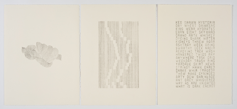 What is Dark Energy   , 2013 Graphite on paper; Triptych, each panel 11 x 15""