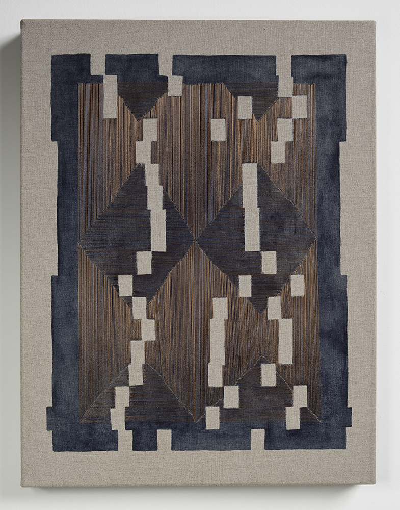 Forms Of Normal Matter , 2016  Thread, watercolor, rabbit skin glue on linen; 17 x 13 x 1.5 inches Private Collection