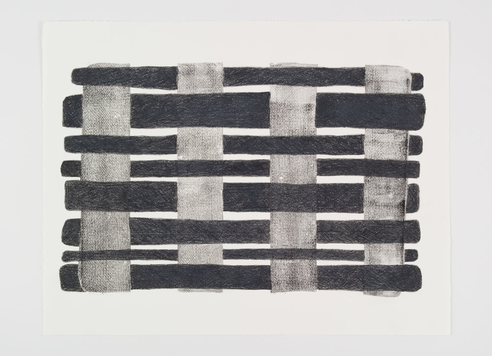 """Printed Weave #2, 2017 Acrylic and wax crayon on paper;22 x 30"""""""