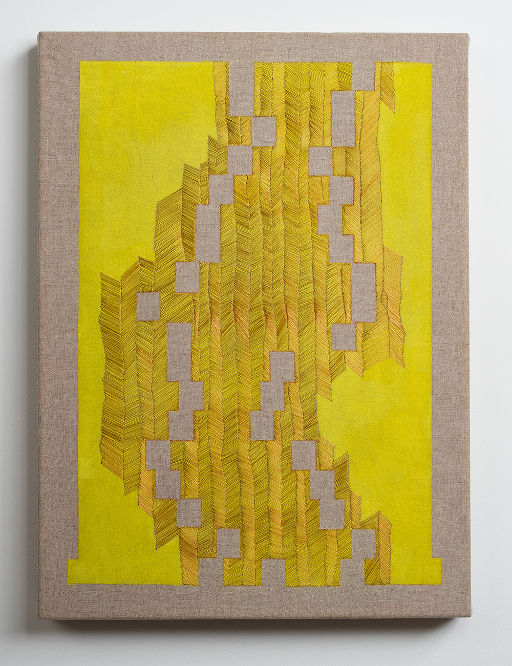 Nothing To See Here , 2016  Thread, watercolor, graphite, rabbit skin glue, linen; 19 x 14 x 1.5 inches Private Collection