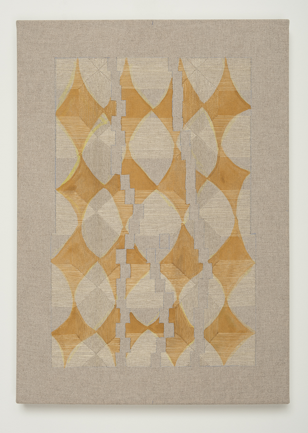 Yearning For New Physics , 2018 Thread, watercolor, transfer pigment, rabbit skin glue on linen;