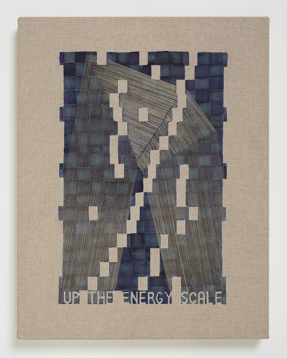 Up The Energy Scale , 2018  Thread, watercolor, transfer pigment, rabbit skin glue on linen; Private Collection