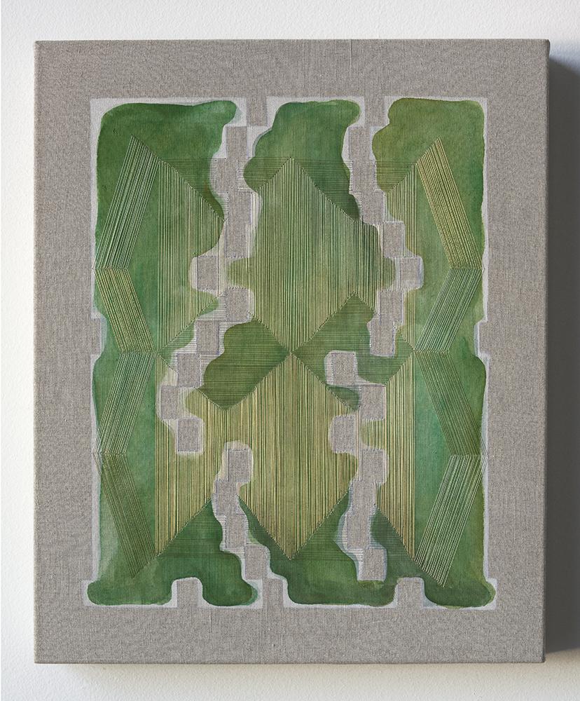 Seems Like Missing Mass , 2018 Thread, watercolor, transfer pigment, rabbit skin glue, linen;