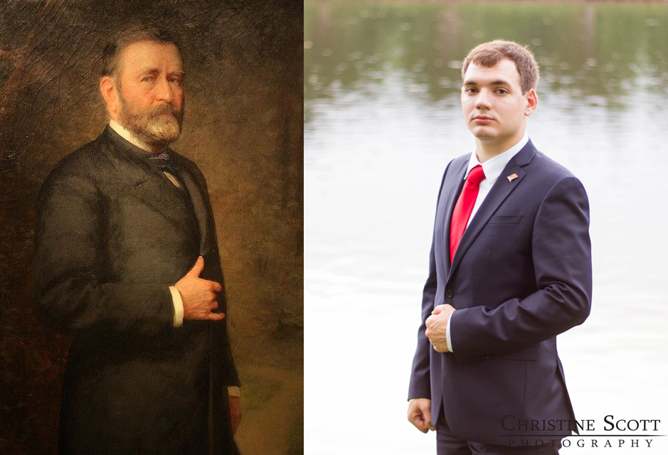I thought that we would stick to the poses from the more modern presidents since a lot of the older ones are either just generic headshots or poses that looked old-fashioned and uncomfortable.  We were surprised that our favorite pose out of all the portraits of presidents we looked at was from an 1880 portrait of Ulysses S. Grant.