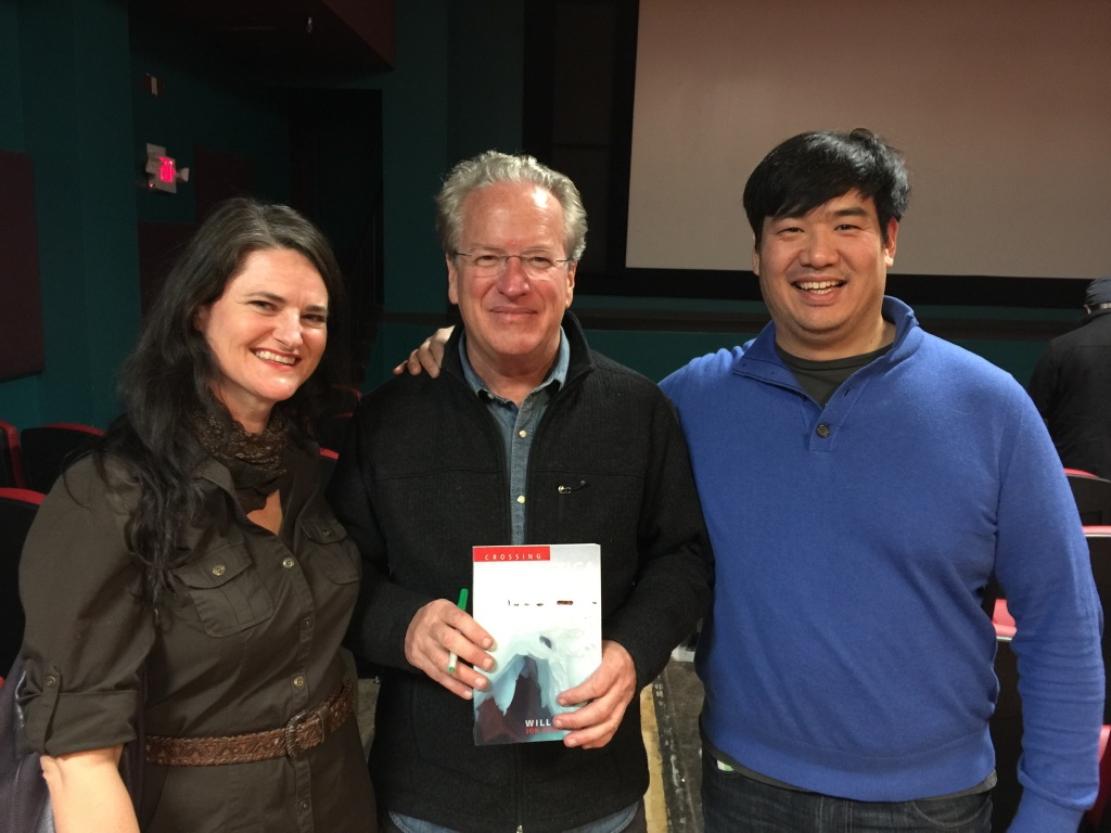 Pam and Kevin with Jon Bowermaster and his book cowritten with Will Steger, Crossing Antarctica.