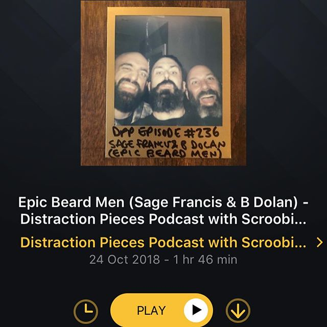 LAST WEEK'S DISTRACTION PIECES NETWORK GOODNESS ~~~~~     ~~~~~~ • WEDNESDAY! A killer triple bearded trio episode as @scroobiuspipyo was accompanied by the @epicbeardmen (who are - if you don't already know (and if that's the case then what the hell???) @sagefrancissfr and @bdolansfr) - a solid gold stop and chat featuring two of the sickest emcees in the rap game, dropping all manner of jewels and gems from start to end. Definitely one for all @strangefamousrecords heads without a doubt... • THURSDAY! A glorious day on the Films To Be Buried With podcast with @mrbrettgoldstein, as he was joined by the fabulous @weemissbea for some good old fashioned deep, dark and hilarious talk on all matters cinematic and existential. So so good... ~~~~~     ~~~~~ Catch all of them over on @acastuk, iTunes, Spotify, or whatever podcatcher takes your fancy. Each episode has a ton of links to each guest, so get following em too why not... I produce both podcasts and as I say each week, i'm a fan of em too - you are in very safe hands with these shows and you will love em for sure. GO PEEP! ~~  ~~ #podcast #podcasts #acast #strangefamous #scroobiuspip #speechdevelopment #distractionpieces