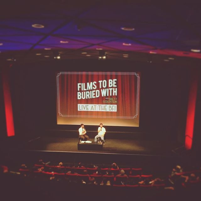 Such a grand time at the Podstock podcast festival at the @britishfilminstitute yesterday! It's so great to have these celebrations of all things podcast over here in the UK as we have so many incredible, diverse and inspiring shows, and the BFI was the perfect venue to appreciate a handful of them live and in the flesh... ———   ——— I was very proud to be on team Films To Be Buried With, which is @mrbrettgoldstein's lovely podcast which I produce - if you haven't heard it, basically Brett tells his weekly guest that they've died and they get deep into this whole life bizniss through the guests' film picks. Last night was the turn of one of the UK's finest to do it, Mr @willpoulter and goddamn he ripped it up. I was up in the projection booth spying down and caught every moment, and he and Brett killed it. And buried it. If you weren't able to make it, the episode will be going out down the line on @acastuk as ever, so hold tight! Rest assured that it was a solid banger. Thanks to everyone involved for a really nice day of podcast goodness! ———   ——— I snuck a few shots of the booth while i was up there but some didn't come out as it was so dark, but there's some proper freaky cinema gear up there. The projectionist was telling me about nitrate film too - that shit burns underwater!! Very happy to not be in charge of handling that, for real. Anyway - huge props to them for doing what they do. And of course, massive congratulations to Brett for the first LIVE Films To Be Buried With! Look out! ———   ——— #podcast #podcasts #bfi #filmstobeburiedwith #podstock #southbank #film #filmpodcast
