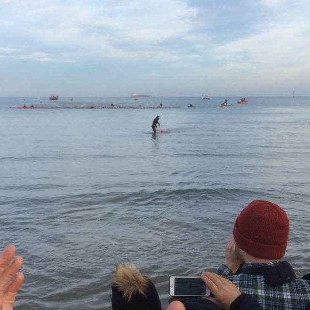We were up and about early enough to catch Ross Edgley arise from the Margate coastline after his 1,780 mile swim around Great Britain! Dude's out of his mind but it was so good to see... and planes made hearts in the sky and it was all well sweet. Bigups! @rossedgley #greatbritishswim