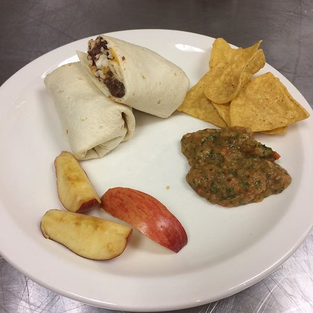 Bean and cheese burritos, made with house made beans, and house made salsa. #edibleschoollunch  #nomeatfriday @annacontrerasrdm