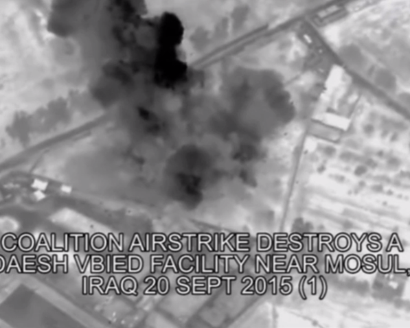 """A still from Coalition video of the airstrike on the homes of Basim and Mohannad Razzo (from """"The Uncounted,"""" by Anand Gopal and Azmat Khan in The New York Times Magazine)."""