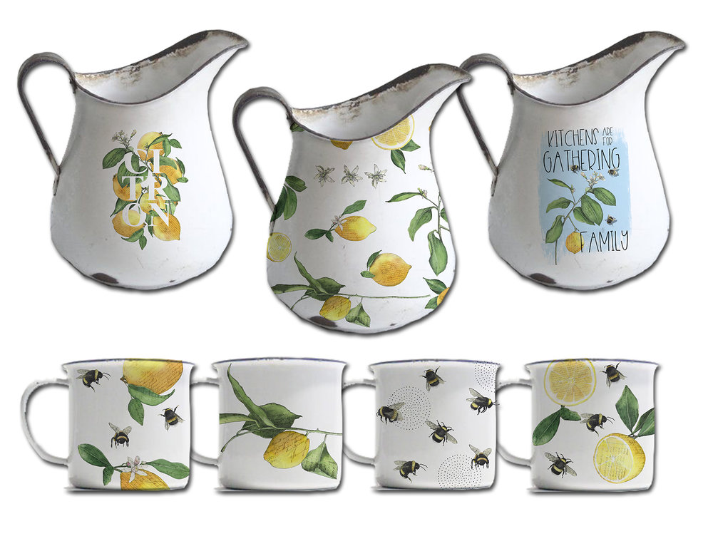 CA Lemon and bees enamel pitcher and mugs.jpg