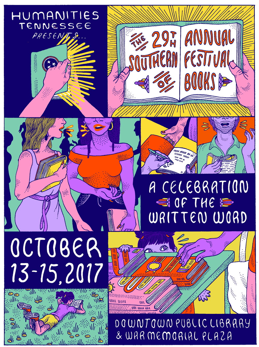 Client:  Humanities Tennessee   Poster for the organization's 'Southern Festival of Books' 2017