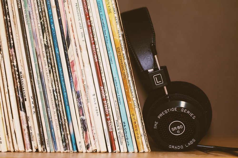 vinyl music records audio headphones