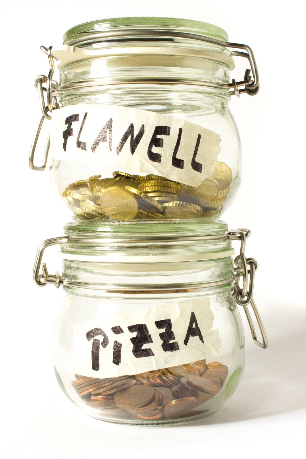money jars mental accounting flannel pizza