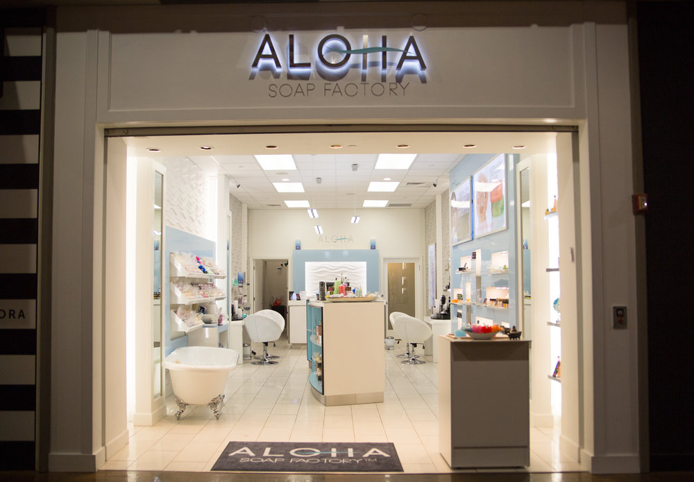We would love to welcome you to visit our Aloha Soap Factory Boutique where we carry handmade therapeutic soaps, bath bombs, bath salts, body lotions, essential oils and aromatic oils, diffusers, face masks, loofah soaps, cupcake soaps, towels, candles and other related items.    Enjoy Hawaii at the comfort of your home :)