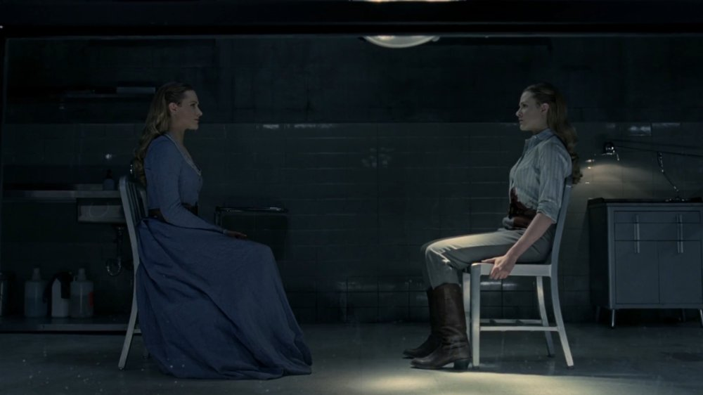 Delores and her inner voice on HBO's Westworld