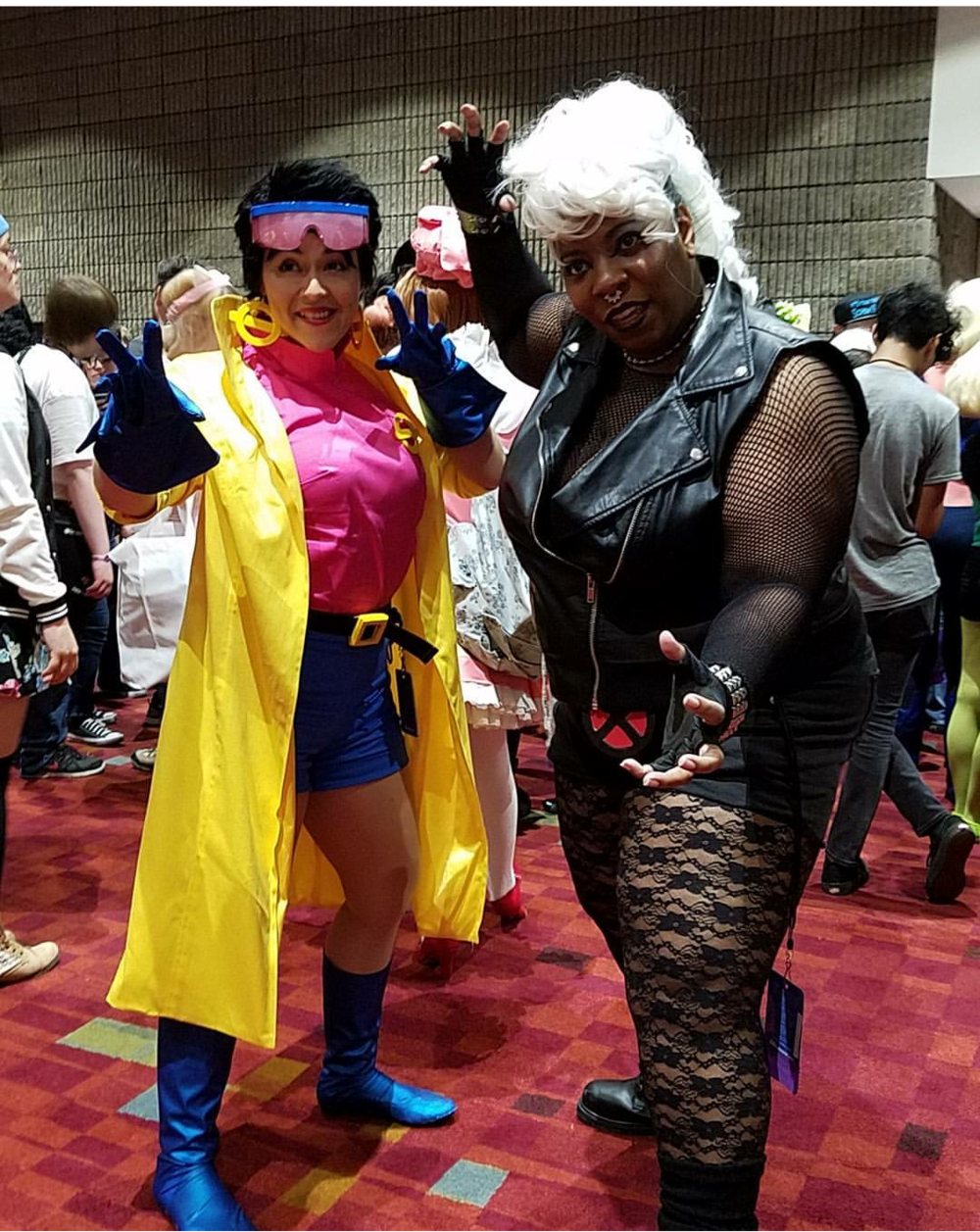 Photo of TaLynn Kel with Jubilee cosplayer