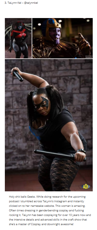 In September 2016, I was included on  Girl Geek HQ's list of Top 6 Plus Size Cosplayers .