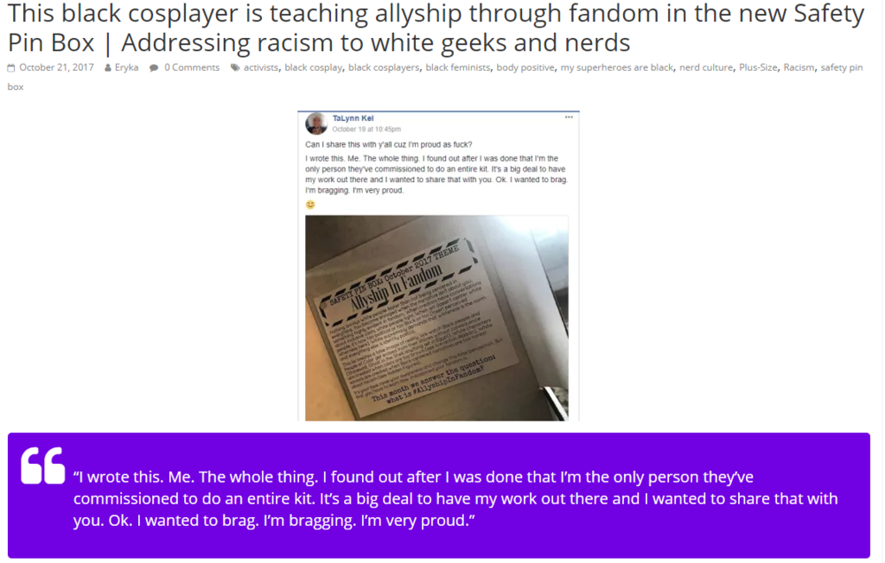 In October 2017, I wrote the content for  The Safety Pin Box , Allyship in Fandom.  Fabulize Magazine  gave me a shout out for my work.