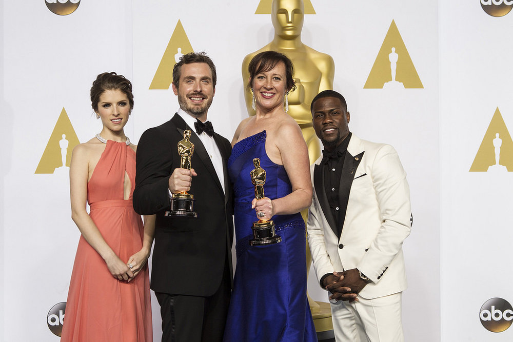 Photo from Flickr. Press room at 87th Oscars. Pictures: Anna Kendrick, Patrick Osborne, Kristina Reed, Kevin Hart