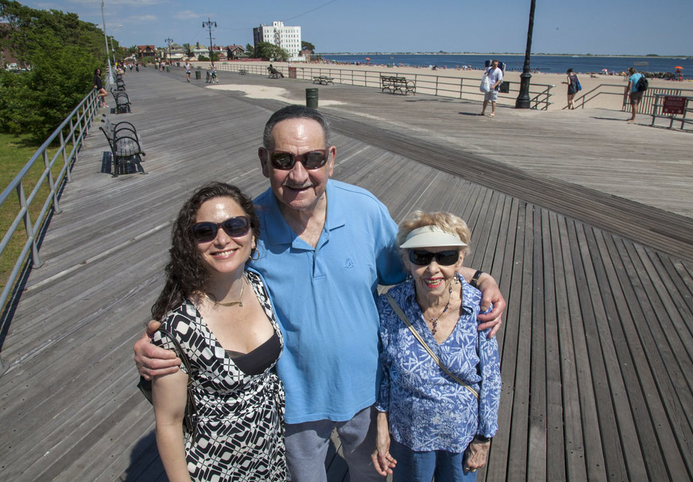 My mother and and my fiance's father both grew up in Brighton Beach Brooklyn. This was a day we all spent walking around the old neighborhood, and I love this shot we took at the end of the day on the boardwalk of all the happy faces.